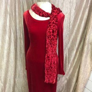 BCBG Dresses - Bcbg - RED VELVET DRESS W/SCARF